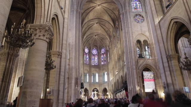 t/l ws zo notre dame cathedral interior / paris, ile de france, france - notre dame de paris stock videos and b-roll footage