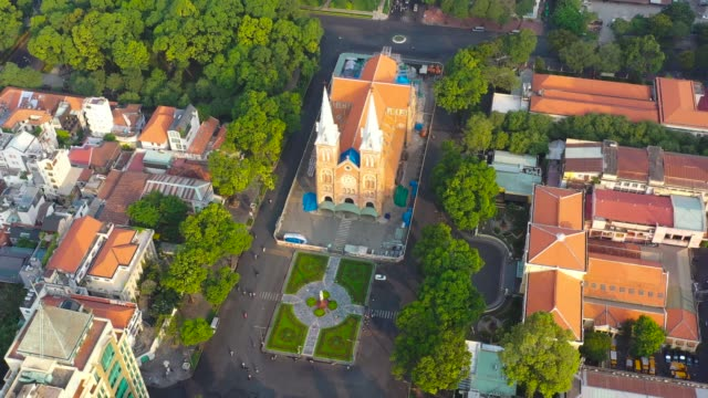 notre dame cathedral of ho chi minh city - saigon notre-dame cathedral basilica - the current notre dame cathedral is undergoing large-scale renovation. - 1959 stock videos & royalty-free footage
