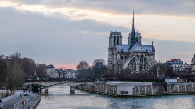 Notre Dame Cathedral sunset timelapse in Paris