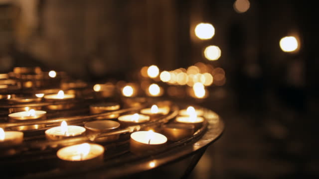 Notre Dame cathedral with candlelight, Paris, France