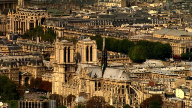 aerial notre dame de paris and cityscape/ paris, france - notre dame de paris stock videos & royalty-free footage