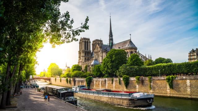 notre dame de paris and seine river, france - river seine stock videos & royalty-free footage