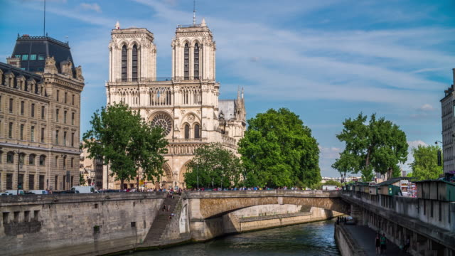 notre dame de paris cathedral - river seine stock videos & royalty-free footage