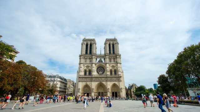notre dame de paris,  france 4k time lapse - notre dame de paris stock videos and b-roll footage