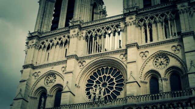 notre dame de paris, france - rose window stock videos and b-roll footage