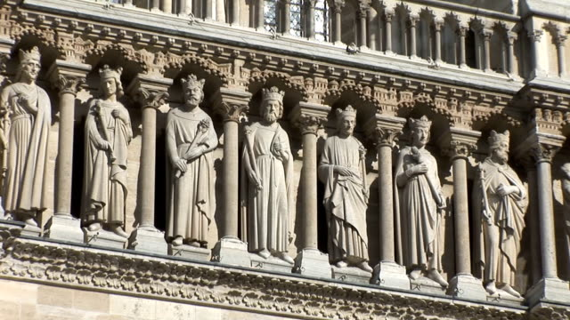 notre dame de paris, statues and cathedral - eiffel tower stock videos & royalty-free footage