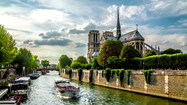notre dame de paris - river seine stock videos & royalty-free footage
