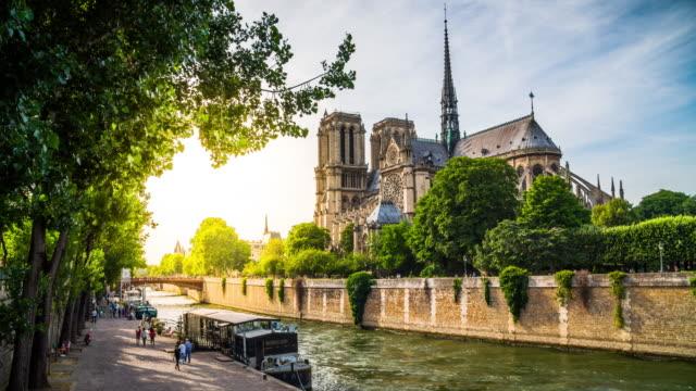 notre dame de paris - back lit stock videos and b-roll footage
