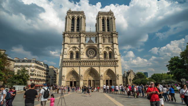 notre dame hyper-lapse, paris - cathedral stock videos & royalty-free footage