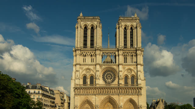 t/l zo pan notre dame in paris, france transition from day to night - notre dame de paris stock videos and b-roll footage