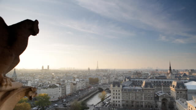 notre dame view of paris panorama - panoramic stock videos & royalty-free footage
