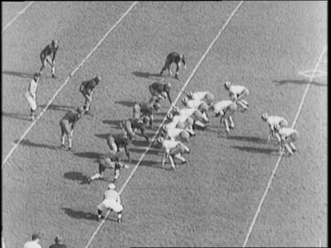 notre dame vs university of illinois / 'irish' spelled out on field by cheerleaders / owen evans runs ball / steve juzwik runs ball, notre dame... - インターセプト点の映像素材/bロール