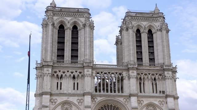 notredame as seen on 21 june 2019 after the fire caught on april 15 2019 burning for 15 hours and damaging most of the wooden roof during the... - île de france stock-videos und b-roll-filmmaterial
