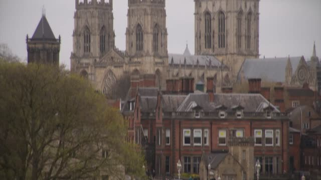 1984 York Minster fire provides lessons in rebuilding UK North Yorkshire York Railings of York City walls York Minster towers and entrance ceiling of...