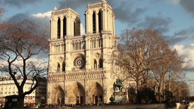 notre-dame cathedral in paris - notre dame de paris stock videos and b-roll footage