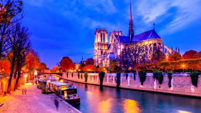 notre-dame de paris - river seine stock videos & royalty-free footage