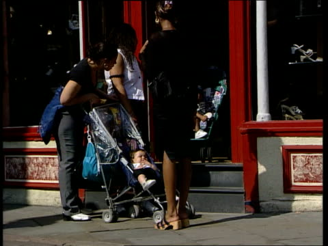 Nottingham CMS Teenage girl sitting in sun taking drink CMS Another wearing sunglasses and chatting Two teenage girls hug in passing Baby pushed in...