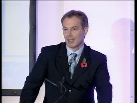 nottingham ext tony blair mp out of car on arrival at education conference gv delegates applauding tony blair speech sot the way she left last night... - speech bubble stock videos & royalty-free footage