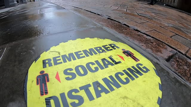 nottingham street scenes with social distancing sign as the coronavirus cases rise and the city moves into tier three of restrictions - tram stock videos & royalty-free footage