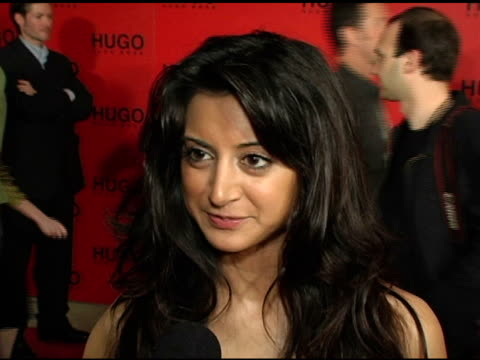 noureen dewulf on why she came to support hugo boss, why she likes the style and look of hugo clothing and on upcoming projects at the bash and... - hugo boss stock videos & royalty-free footage