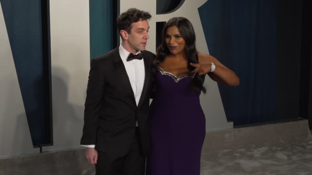 novak and mindy kaling at 2020 vanity fair oscar party hosted by radhika jones at wallis annenberg center for the performing arts on february 09,... - vanity fair oscar party stock videos & royalty-free footage