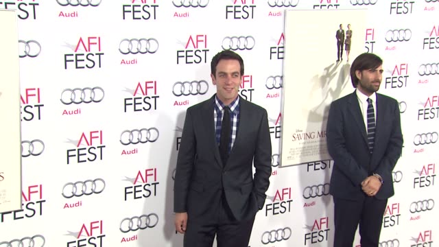 bj novak at afi fest 2013 opening night gala premiere of disney's saving mr banks in hollywood ca on - b.j. novak stock videos and b-roll footage