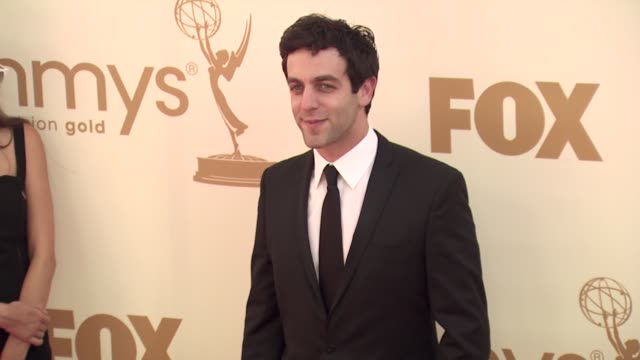 bj novak at the 63rd primetime emmy awards arrivals part 1 at los angeles ca - b.j. novak stock videos and b-roll footage