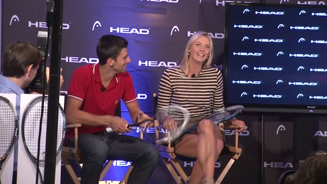vídeos de stock, filmes e b-roll de novak djokovic and maria sharapova talk about her reaction to being told that he did impressions of her at the maria sharapova and novak djokovic... - maria sharapova
