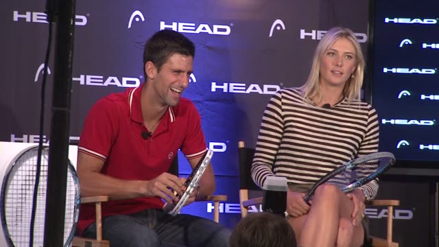 vídeos de stock, filmes e b-roll de novak djokovic talks about his shoulder forcing him to quit in a match against andy murray during the western southern open at the maria sharapova... - maria sharapova