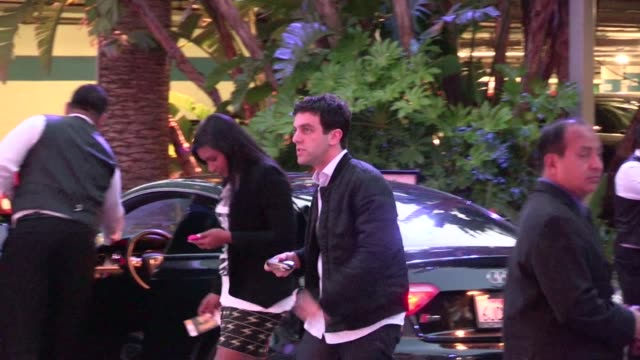 bj novak mindy kaling arrive at staples center in los agneles 04/06/12 - b.j. novak stock videos and b-roll footage