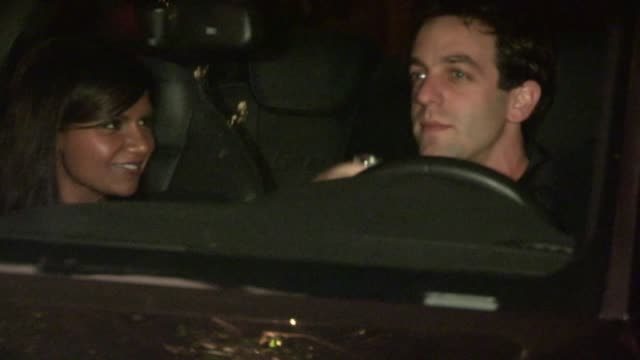 bj novak mindy kaling depart chateau marmont in west hollywood 04/11/13 - b.j. novak stock videos and b-roll footage