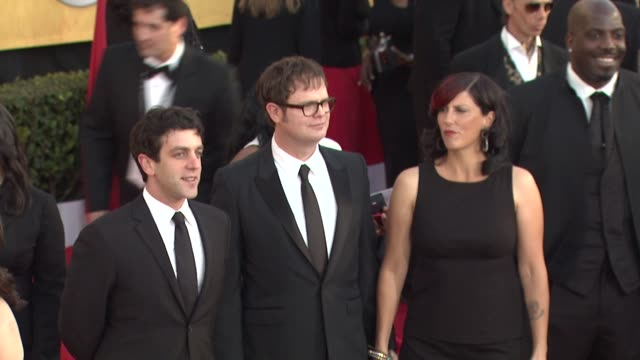 bj novak rainn wilson at the 17th annual screen actors guild awards arrivals part 2 at los angeles ca - b.j. novak stock videos and b-roll footage