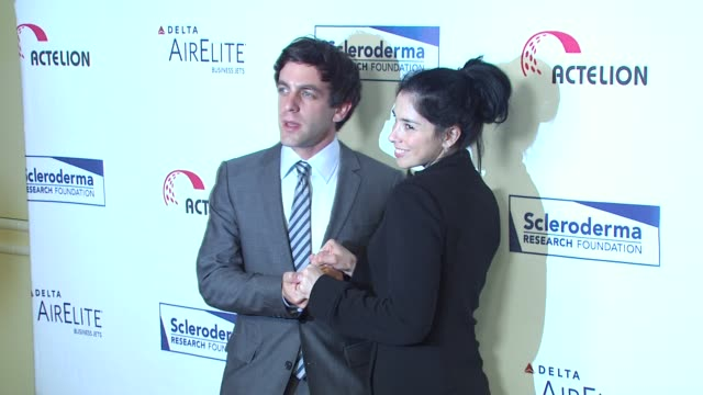 bj novak sarah silverman at the scleroderma research foundation's 'cool comedy hot cuisine' at beverly hills ca - b.j. novak stock videos and b-roll footage
