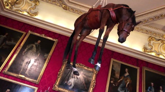 """novecento a taxidermy horse suspended from the ceiling created by artist maurizio cattelan is seen at blenheim palace on september 12 2019 in... - bathroom stock videos & royalty-free footage"