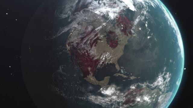 neuartige coronavirus ncov verbreitung vereinigten staaten und auf der ganzen welt, weltweite grippeepidemie breitet sich auf allen kontinenten, globale tödliche virusinfektion, corona pandemie krise tötet tausende weltweit, satellitenansicht von influen - epidemie stock-videos und b-roll-filmmaterial