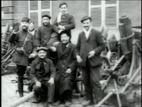 november 12 1918 montage french troops smiling and posing / turenne correze france - 1918 stock videos & royalty-free footage