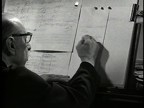 november 17, 1957. int 00:00:00 igor stravinsky at the piano. 00:00:02 - 00:00:14 sheet music on the piano and zoom out as stravinsky writes. end - music or celebrities or fashion or film industry or film premiere or youth culture or novelty item or vacations stock videos & royalty-free footage