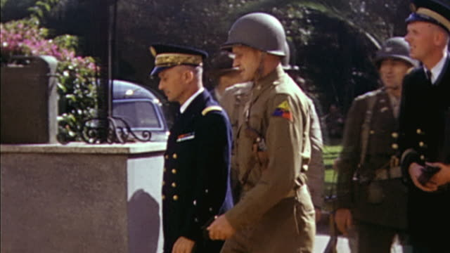 november 1942 delegation including french admiral michelieu and u.s. army general hubert harmon arriving at u.s. army headquarters / casablanca,... - 1942 stock videos & royalty-free footage