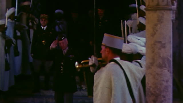 november 1942 general george patton and u.s. army officers shaking hands with french officers and leaving by car / casablanca, morocco - 1942 stock videos & royalty-free footage