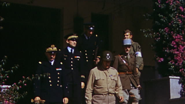vídeos de stock e filmes b-roll de november 1942 ts vichy french navy admiral michelieu us army general george patton and other delegation members leaving us army headquarters /... - 1942