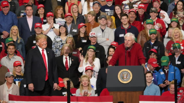 """november 2 southport, indiana: during a political rally in indiana former indiana university basketball coach bob knight says, """"go get 'em donald,""""... - midterm election stock videos & royalty-free footage"""
