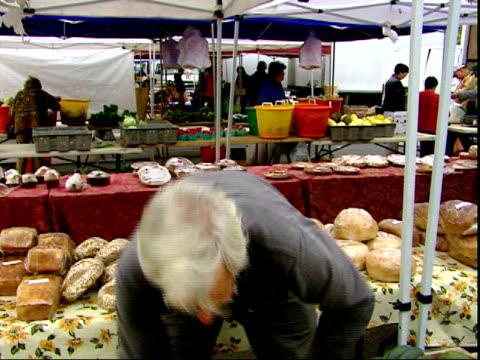 november 20, 2007 man unloading and selling produce at a farmer's market / mt. vernon, virginia, united states - バージニア州マウントヴァーノン点の映像素材/bロール