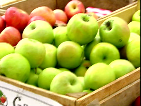 november 20, 2007 montage granny smith apples displaying at a farmer's market / mt. vernon, virginia, united states - バージニア州マウントヴァーノン点の映像素材/bロール