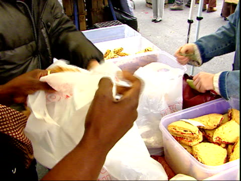 november 20, 2007 retailer selling and bagging up products at farmer's market / mt. vernon, virginia, united states - バージニア州マウントヴァーノン点の映像素材/bロール