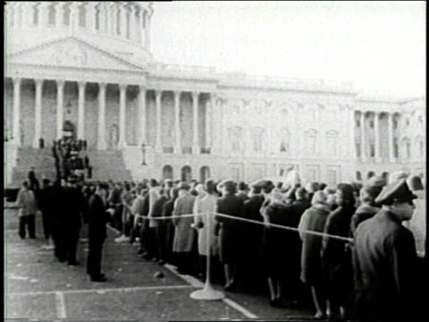 november 24 1963 montage crowds of mourners wait in line outside capitol building for viewing of jfk's casket / washington dc united states - assassination of john f. kennedy stock videos and b-roll footage