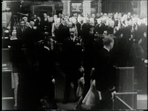 november 25 1963 ha jacqueline kennedy with john jr and caroline move up the aisle at the funeral of john f kennedy / washington dc united states - jacqueline kennedy stock videos and b-roll footage