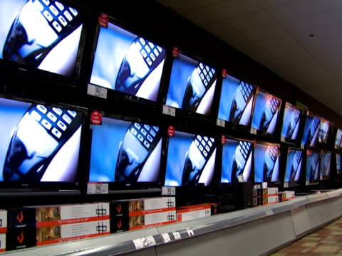 November 27 2008 PAN Rows of televisions on display in Circuit City electronics store / United States