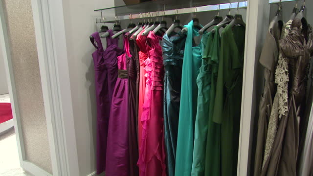 november 27 2009 pan evening gowns on display in neiman marcus / united states - förvaringsställ bildbanksvideor och videomaterial från bakom kulisserna