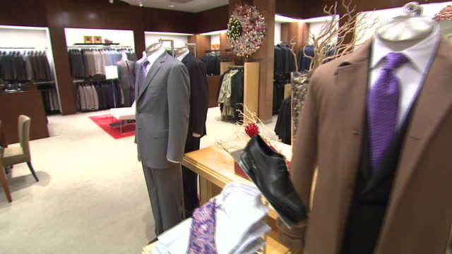 november 27, 2009 men's suits on display in neiman marcus / united states - neiman marcus stock videos & royalty-free footage