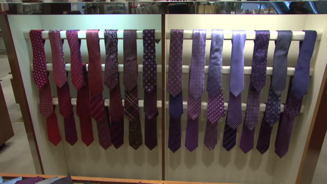 november 27 2009 td men's ties on display in neiman marcus / united states - neiman marcus stock videos & royalty-free footage